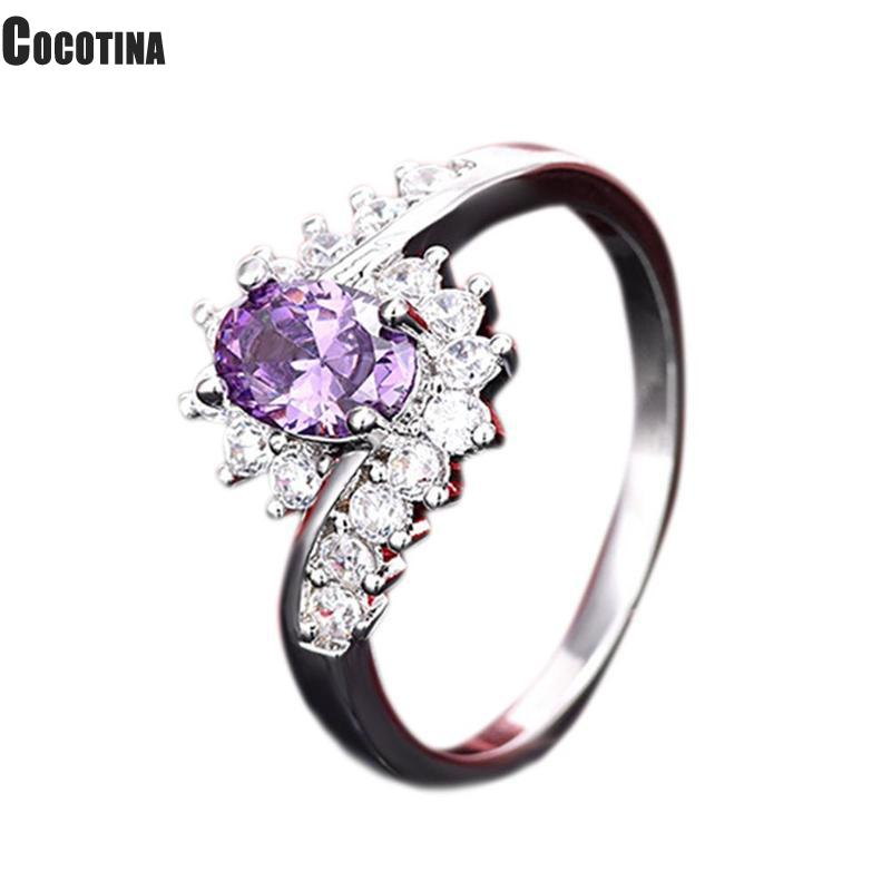 Silver Finger Rings For Women Personalized Finger With Purple White Zircon Wedding Party Jewelry Gifts Size 7(China)