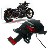 Fit Harley XL 883 1200 48 2004 2014 2012 2013 XL883 XL1200 48 Motorcycle Black Rear Fender Mount License Plate LED Light Lamp