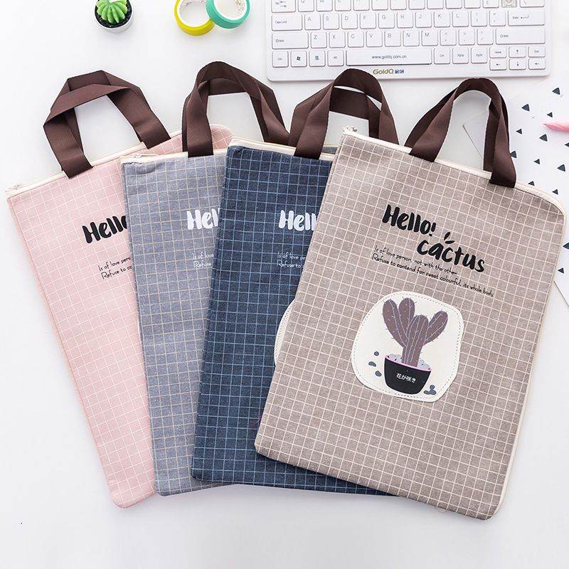 A4 Kawaii Hello,Cactus Canvas File Folder Document Filing Bag Stationery Bag Promotional Gift Stationery