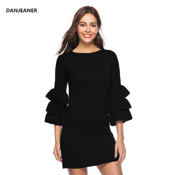 Danjeaner Autumn Winter Sweater Dress 2018 New Sexy Three Quarter Butterfly Sleeve Knitting Pullovers O-neck Long Jumpers Pull