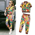 Brand Style Colorful Rainbow Women Casual Tracksuits Short Sleeve Tee And Harem Pants Pullovers Twinsets Sportswear  NS135