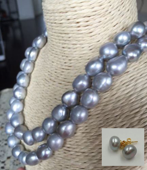 double strands 12-13mm south sea lavender baroque pearl necklace earring