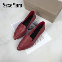 SexeMara New 100% Genuine Leather Women Flats shoes Comfortable soft Pointed Toe Solid Pregnant Driving Ladies Loafers Shoes