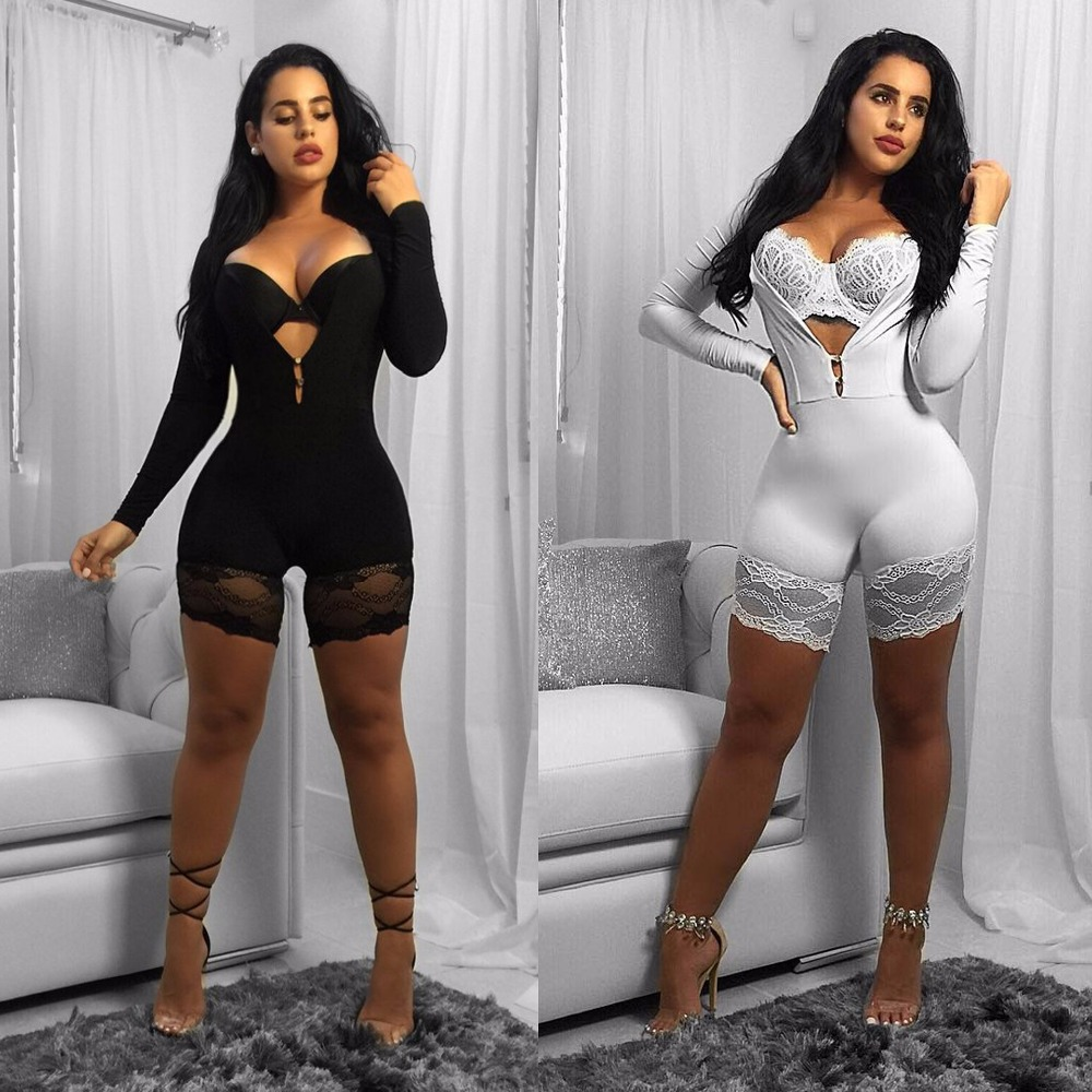 Women New Fashion Sexy Summer Vestidos Rompers Lady Skinny PLATSUITS Party Night Club Casual bodysuits Lace Patchwork jumpsuits
