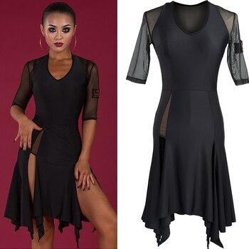 19747811 Vestido de baile latino para mujer Tango Salsa Cha-Cha Rumba Samba ropa de  baile de competición negro Irregular ropa de práctica de escenario DNV10410