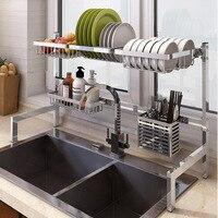 Tank Drainage Rack Bowl and Dish Rack 304 Stainless Steel Foldable Kitchen Rack Kitchen Storage Holder Tableware Shelf Organizer