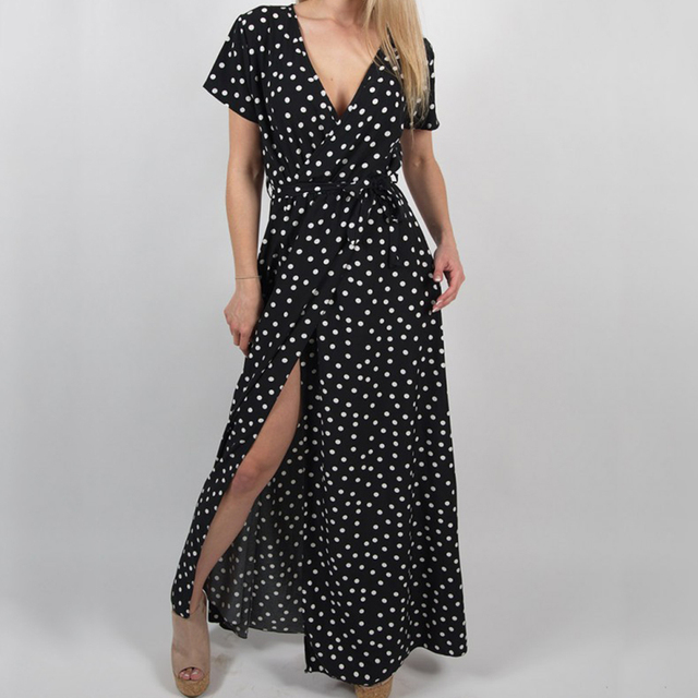 WENYUJH Women Polka Dot High Split Dress Summer Sexy V-neck Beach Boho Dress Short Sleeve Sashes Maxi Long Dresses Plus Size