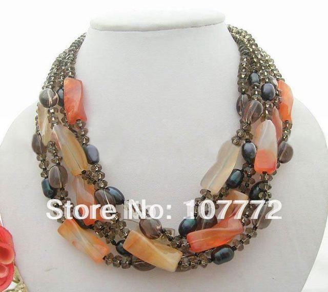 Amazing! 5 strands  Pearl&Carnelian&Smoky Quartz Necklace   free shipment