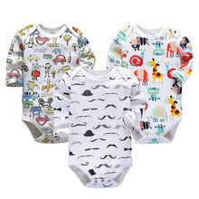 Купить с кэшбэком 3pieces/lot Baby rompers Newborn Baby Girls Boys Clothes 100% Cotton Long Sleeves Baby Pajamas Cartoon Printed Baby's Sets