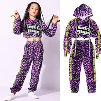 Girl Sexy Leopard print Hoodie Ballroom Jazz Hip Hop Dance Competition Costumes Jacket Pants Kids Dancing Clothing Wear Outfits