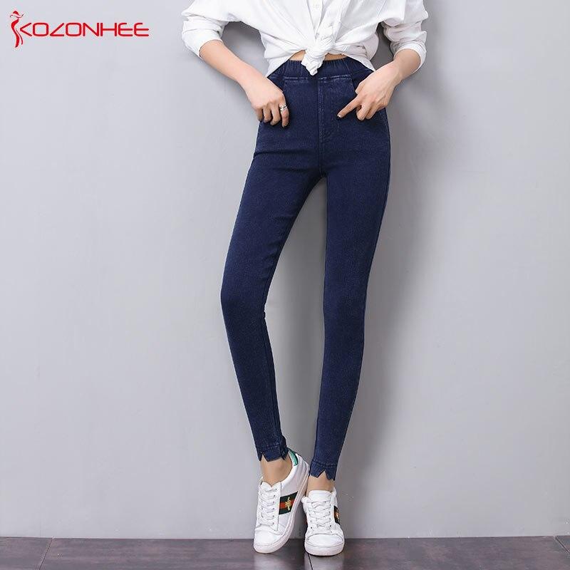 2019 Moda Più Il Formato Di Stirata Dei Jeans A Vita Alta Delle Donne Di Elasticità Stretto Push Up Skinny Jeans Donna #35