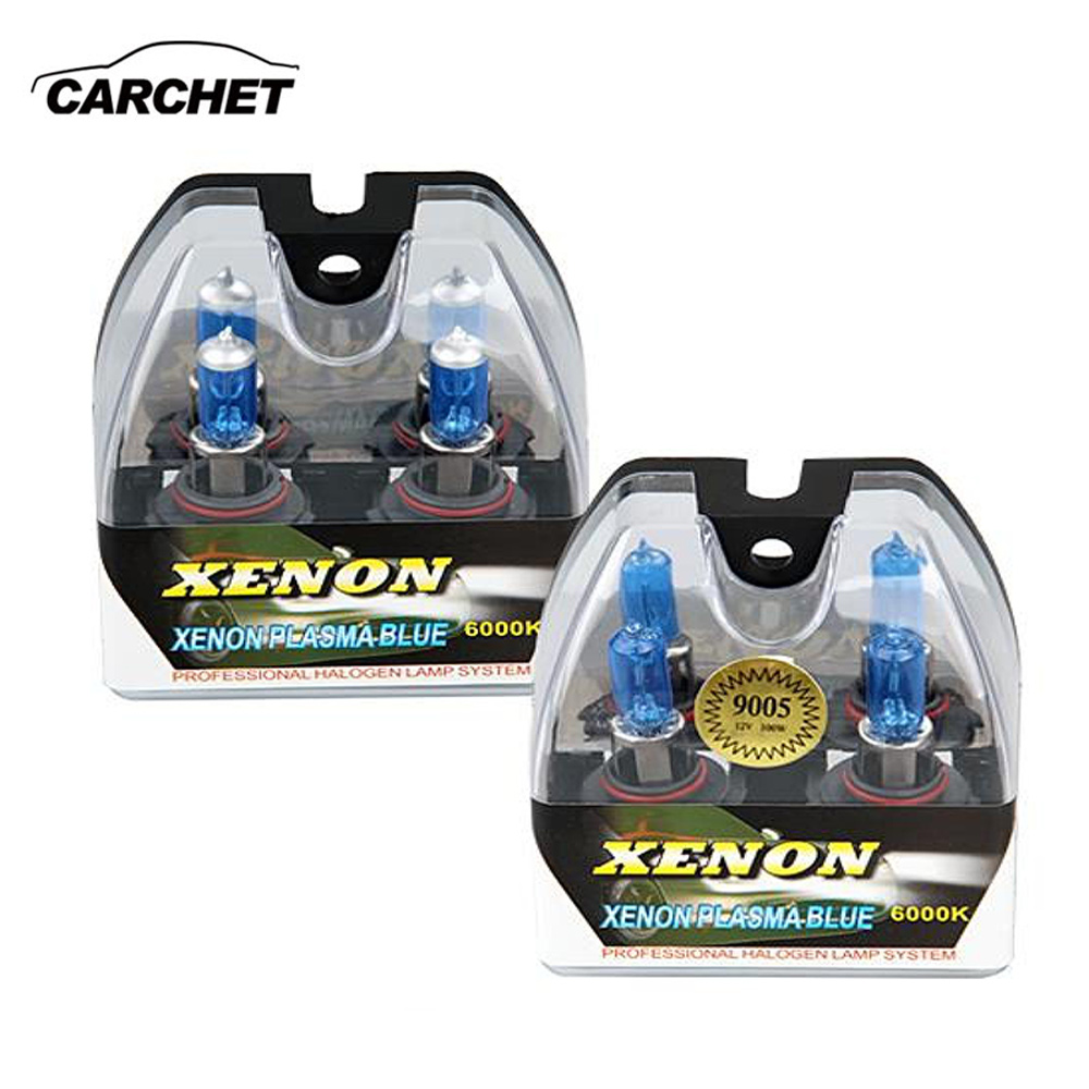 CARCHET 2 Sets Universal Car Headlight HB4 9006 HB3 9005 6000K For Xenon Halogen Lights Lamp Bulbs 100W 6000K High & Low Beam 2 pcs h7 6000k xenon halogen headlight head light lamp bulbs 55w x2 car lights xenon h7 bulb 100w for audi for bmw for toyota
