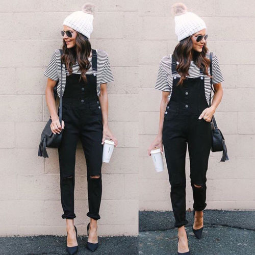 hgih street wear clothes Fashion Women Loose Denim Bib Hole Pants Overalls Demin Trousers   Jumpsuit