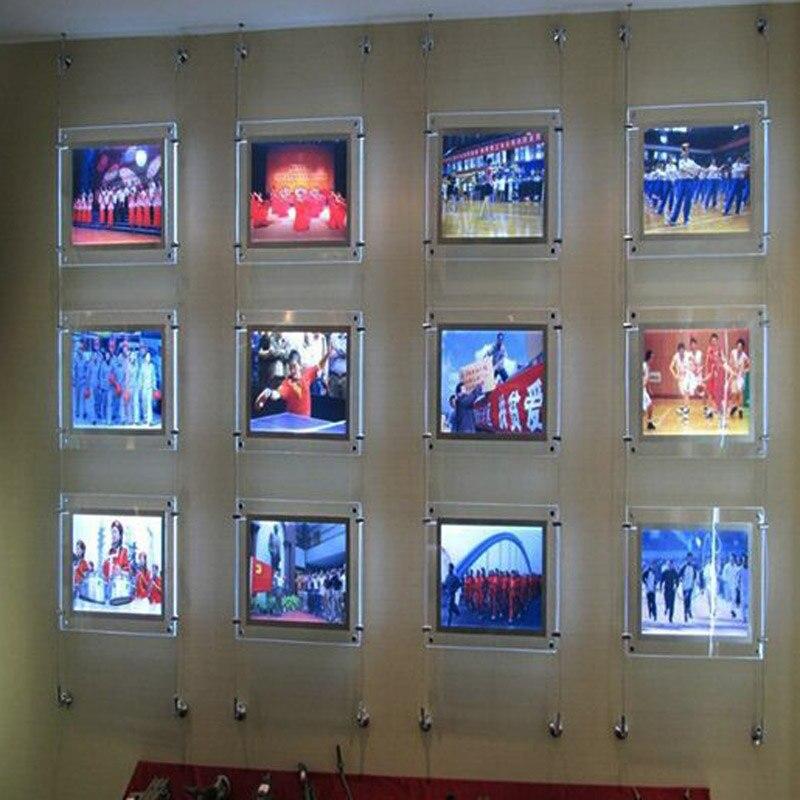 (10 unité/Colonne) A4 Simple Face Mur à Mur Suspendu Agents Immobiliers LED Affiche, led Fenêtre Propriété Affiche