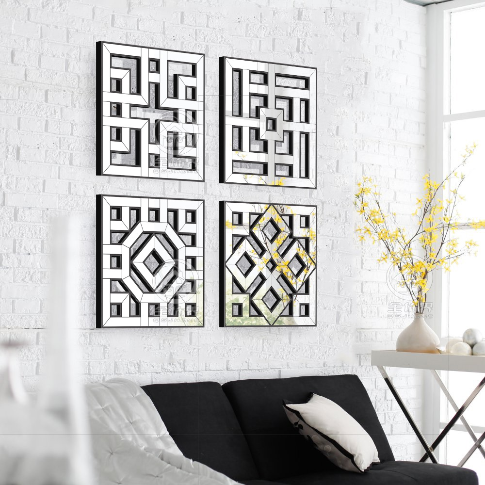 buy morden wall mirror square mirror mirrored wall decor fretwork mirror wall. Black Bedroom Furniture Sets. Home Design Ideas