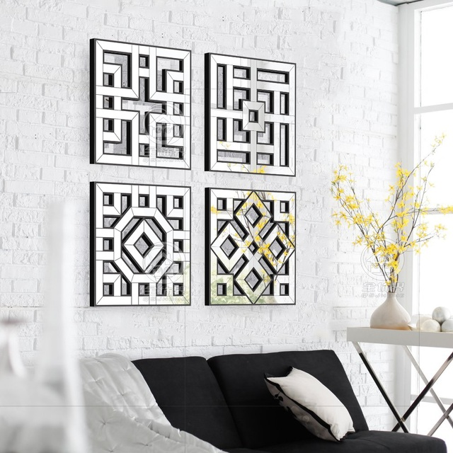 Morden Wall Mirror Square Mirrored Decor Fretwork Art D F1308