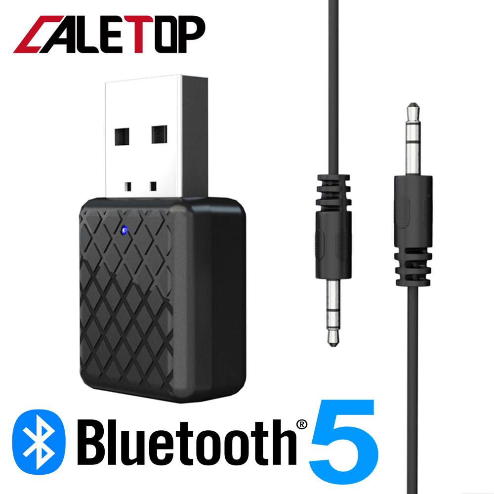CALETOP Bluetooth 5.0 Audio Receiver Transmitter 3.5mm AUX Stereo Sound Bluetooth Transmitter For TV PC Wireless Adapter For Car