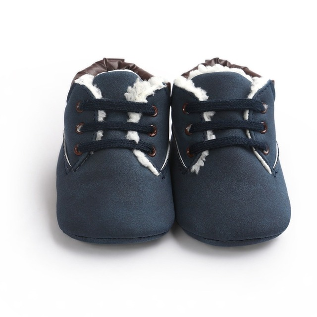 Fashion Martin Baby Boots Plus Cotton Baby Boy Shoes Lace-Up PU Leather Casual Sports Toddler Baby Shoes