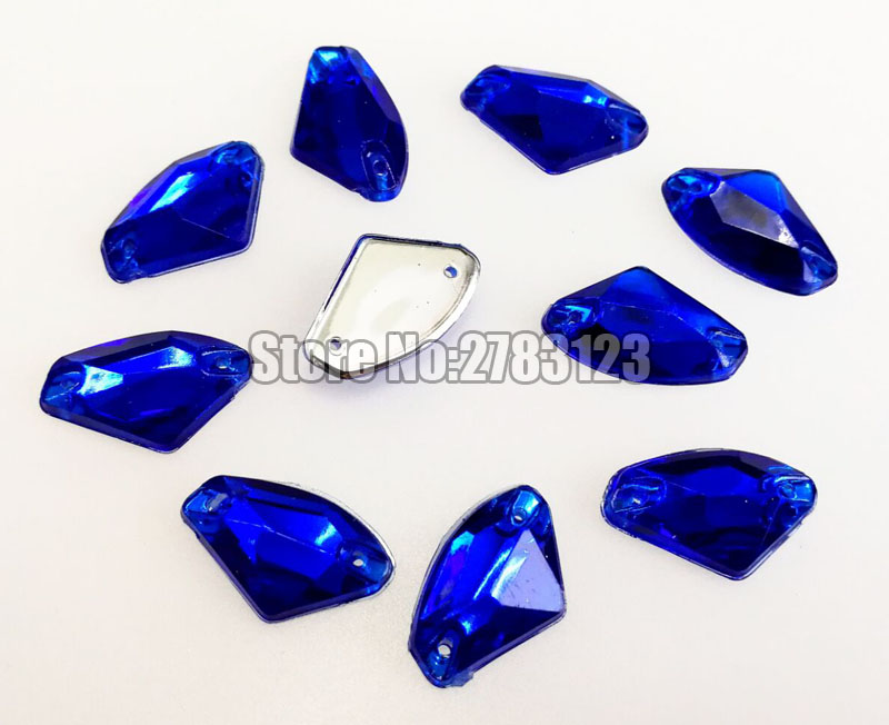 12x18mm 15x24mm 17x23mm 50pcs fan-shaped High quality Acryl sew on rhinestones with two holes,diy/clothing accessories