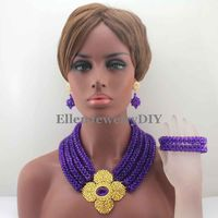 Splendid Purple Indian African Beads Jewelry Set Crystal Rhinestone Statement nigerian wedding bridal beads Necklace Set W13196
