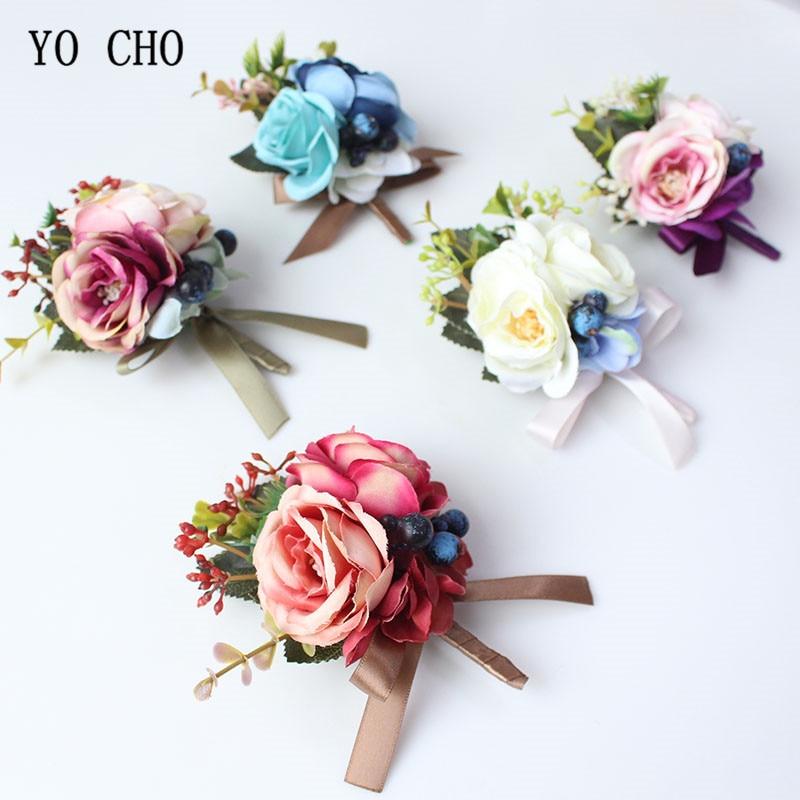 YO CHO Silk Roses Wedding Wrist Corsages Boutonnieres Flowers White Bridal Hand Flowers Groom Button Decor Man Marriage Supplies