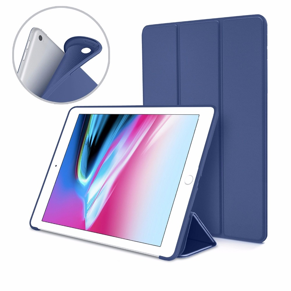 Zimoon Case For iPad 2 3 4 9.7 Inch Ultra Slim Lightweight Trifold Smart Cover Stand With Flexible Soft Silicone Back soft silicone tpu translucent back cover for ipad air 2 air2 trifold stand smart auto on off premium pu leather slim fit case
