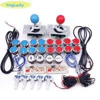 2 Players Arcade game joysticks DIY Kit Zero Delay USB Encoder American Style Joystick 33mm LED Button PC Mame Raspberry pi 1 2