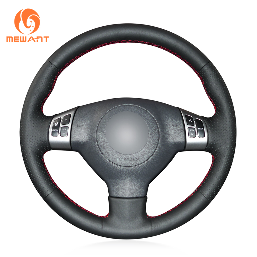 MEWANT Black Artificial Leather Car Steering Wheel Cover for Suzuki Swift 2011 2012 2013 aosrrun car accessories sew genuine leather car steering wheel cover for chery tiggo 3 2011 2012 2013