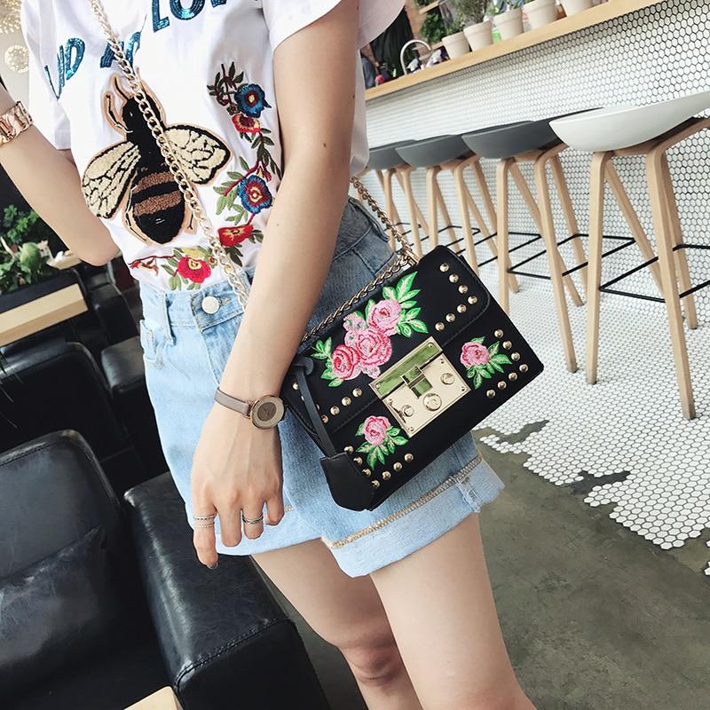 mulheres bordados flor yqyder flap Women's Bag Designers : 2017 Designer Handbags High Quality