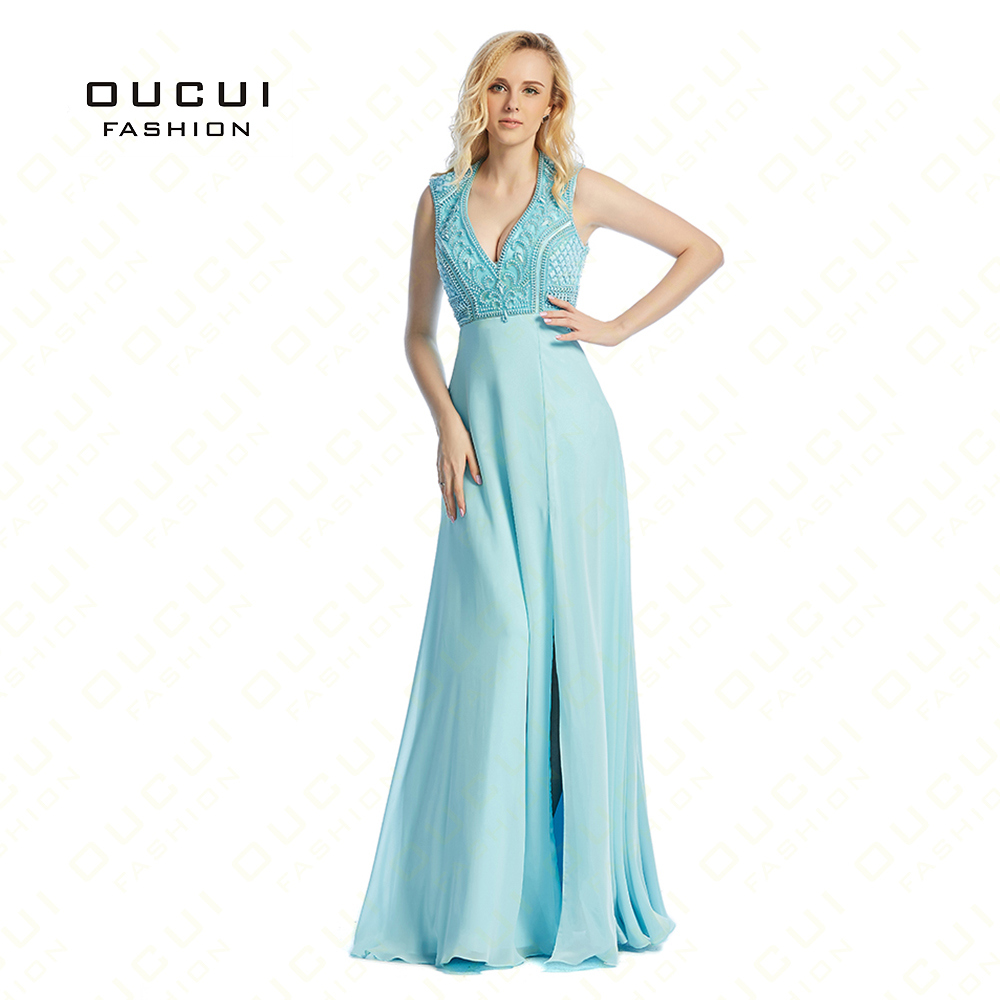 Real Photos Blue Color Chiffon withe Tulle Beading Hand Make Long ...