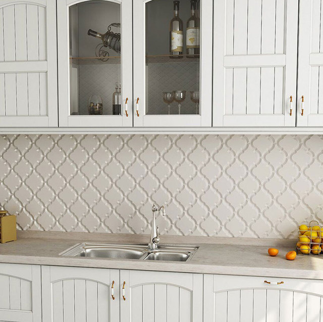 Fedex Dhl Free Shipping Lantern Ceramic Mosaic Tile Backsplash Kitchen Wall Mounted Tiles Beige Color