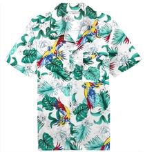 Años 70 Vintage camiseta de Aloha Boho verano pájaro del paraíso hombres botón Arriba Casual de manga corta Hawaii camisas