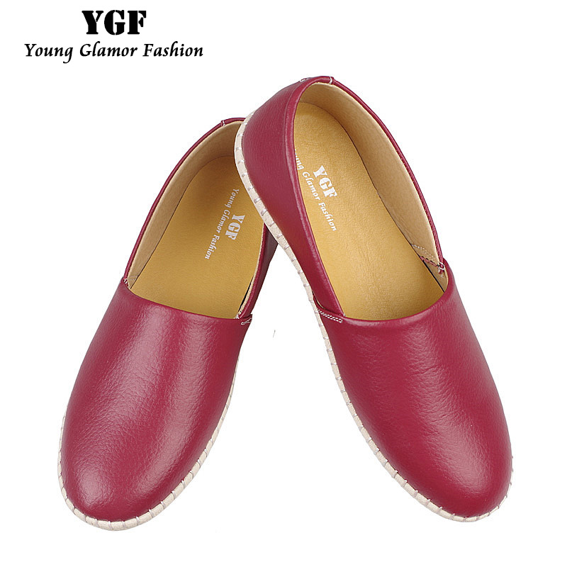 YGF Handmade Loafers Women Genuine Leather Flat Shoes 2017 Spring Solid Loafers Round Toe Flats Espadrilles Casual Lazy Shoes new arrival vintage autumn women flats shoes 3 colors genuine leather casual shoes women round toe flat with women s loafers