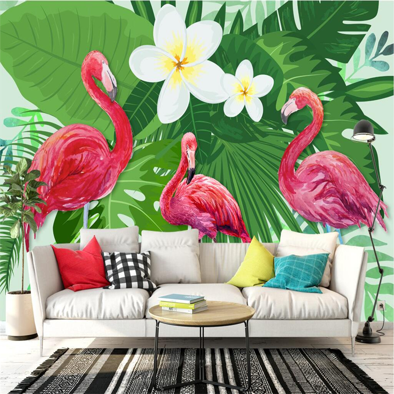 Custom European Style Wallpaper Fresh Flamingo Plant Photo Wallpaper for Kids Extra Thick Modern 3d Wallpaper for Living Room junran america style vintage nostalgic wood grain photo pictures wallpaper in special words digit wallpaper for living room