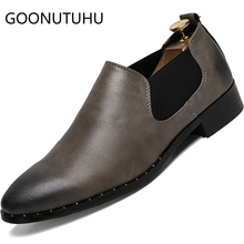 2019 new fashion mens shoes casual leather loafers man classic gray & black slip on shoe male waterproof for men hot sale