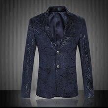 Большой Размеры Принт блейзер Для мужчин бренд одежда 6xl 5xl