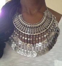 Bohemia gyspy turco oro/plata joyería artesanía étnica collares zamac coin fringe bib choker collar llamativo mujeres