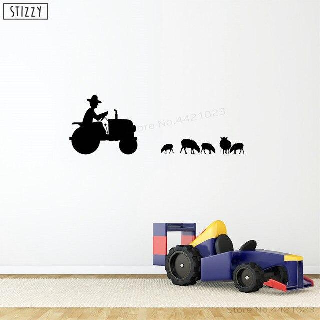 Stizzy Dinding Traktor Petani Desain Dinding Vinyl Stiker Hewan Domba untuk Kamar Anak Pertanian Interior Pedesaan Dekorasi Kamar B230