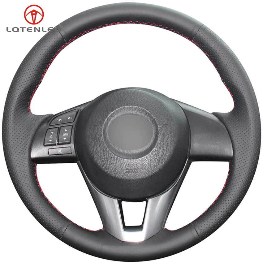 LQTENLEO Black Leather Car Steering Wheel Cover For Mazda 3 Axela 2013 2016 Mazda 2 Mazda