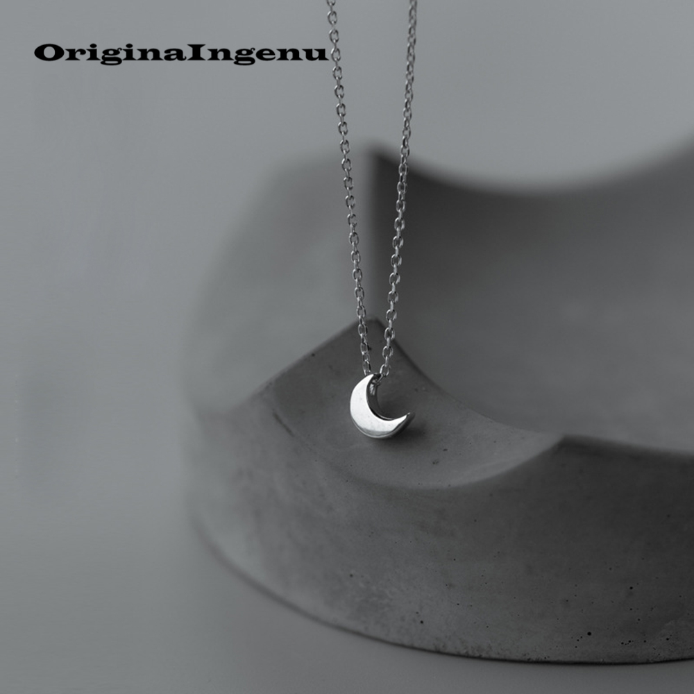 925 Silver Moon Necklace Pendants Vintage Charms Minimalism Creative Women Birthday Gift Collier Femme Choker Kolye Jewerly ...