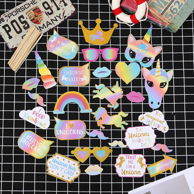 Unicorn Party Photo Booth Props Kids Party Decoration Hat Rainbow Color Paper Stick Mask Birthday Gift For Children Cartoon Hat