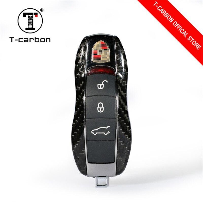 100% De Fibra De Carbono Chave Do Carro Caso Shell Protective Styling Bag Box Para Cayenne Porsche Macan Boxster Cayman 911