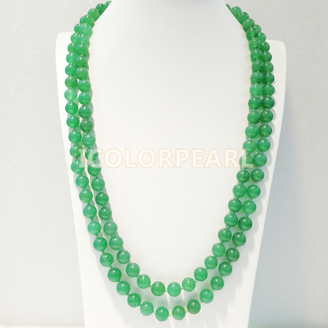120-130CM Long 10MM Round Green Jade Sweater Necklace. Great Jewelry Gift For Girls Of All Ages!