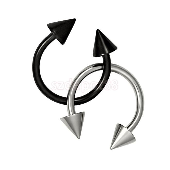 Stainless Steel Spike Horseshoe Septum Nose Ear Rings Silver Black Free Shipping