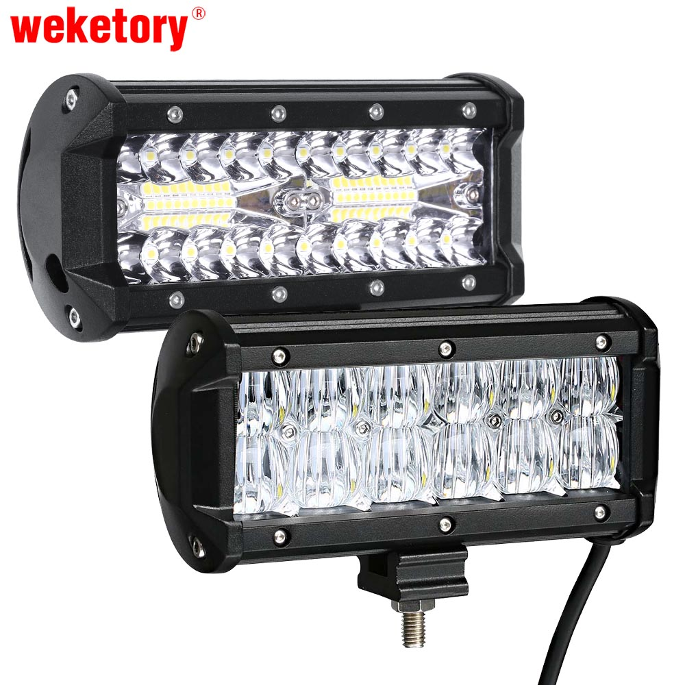 weketory 7 inch LED Bar LED Work Bar Light for Tractor Boat OffRoad 4WD 4x4 Truck SUV ATV Driving 12V LED Light Bar 234w 78 high power cree led work light bar 35 inches led light bar for truck boat atv suv 4wd