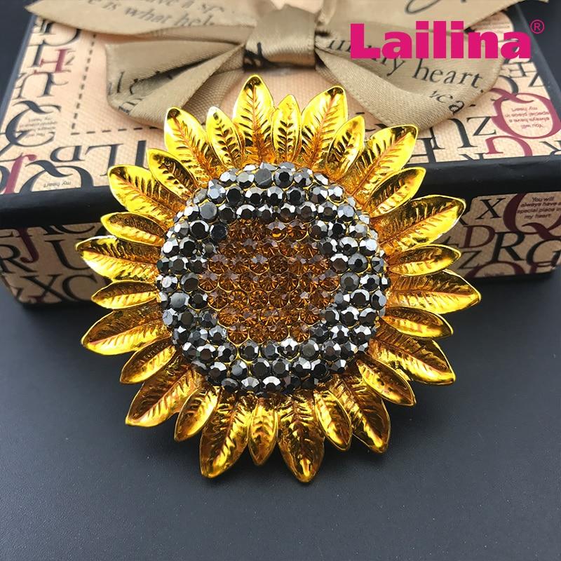 100pcs/lots Gole tone broach rhinestone sunflower brooch pin broches