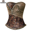 Miss Moly Sexy Corsets and bustiers Steampunk Corset Waist Trainer Gothic Clothing Corselet Brocade Zip Patchwork S-2XL