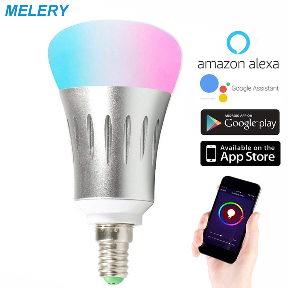 WiFi Smart Light Bulbs LED Lamp 7W RGB Warm/Cold Dimmable Color Changing A19 60W Equivalent E14 Base Work with Alexa Google Home