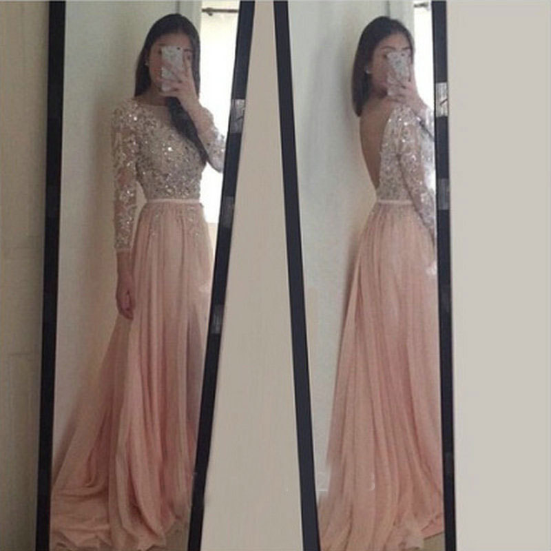 Sparkle Exquisite Pink Scoop Neck Evening Dresses Floor Length Long Sleeves Beadings Crystal Chiffon Formal Gowns