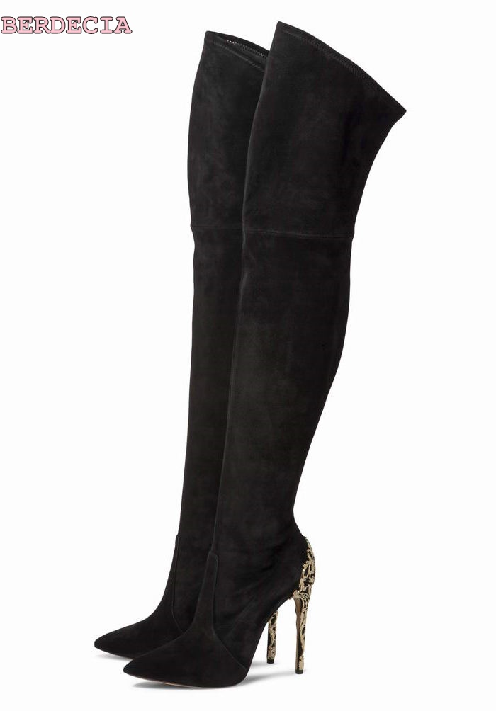 Newest metal heel pointed toe over-the-knee tall boots metal decoration suede stiletto heel thigh high shoes dropship on sale